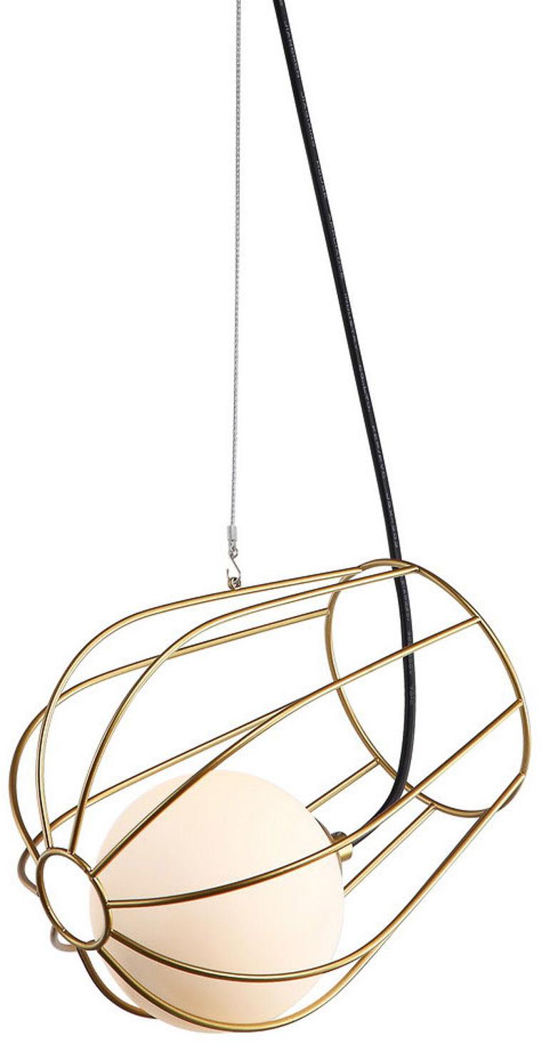 Italux lampa wiszaca Melisa MDM-3942/1 GD złota druciana, szklany klosz 16,5cm