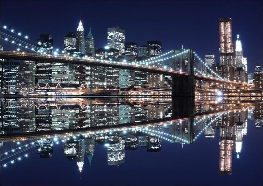 New york brooklyn bridge night - plakat wymiar do wyboru: 91,5x61 cm