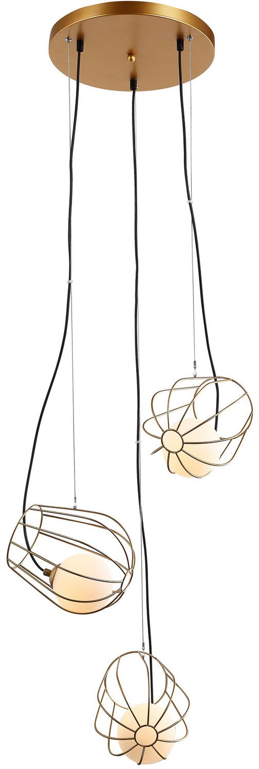 Italux lampa wisząca Melisa MDM-3942/3 GD potrójna złota druciana 53cm