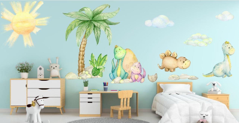 Kolorowe dinozaury pod palmą