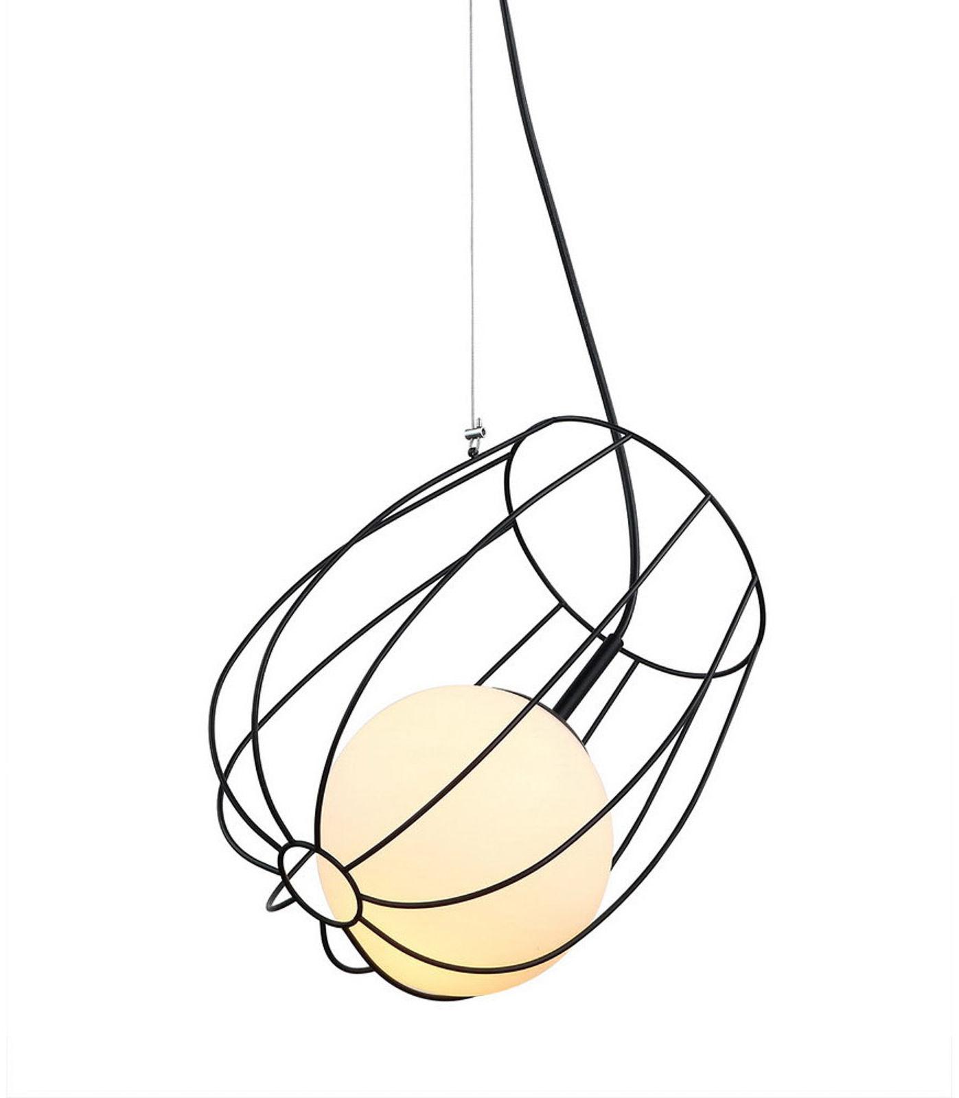 Italux lampa wisząca Melisa MDM-3943/1 BK czarna druciana z szklanym kloszem 23cm