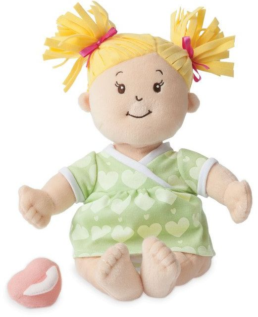 Pluszowa lalka dla dzieci, Blondyneczka w sukience w serduszka, Baby Stella, 152410-Manhattan Toy, lalki dla dziewczynek