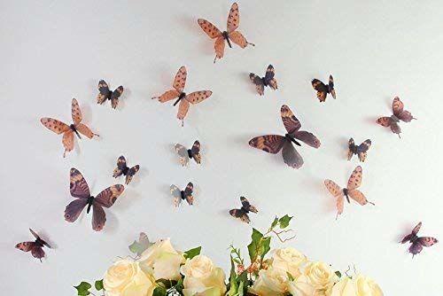WALPLUS smuga motyl brązowe naklejki ścienne, winyl, wielokolorowa, 10 x 10 x 3 cm