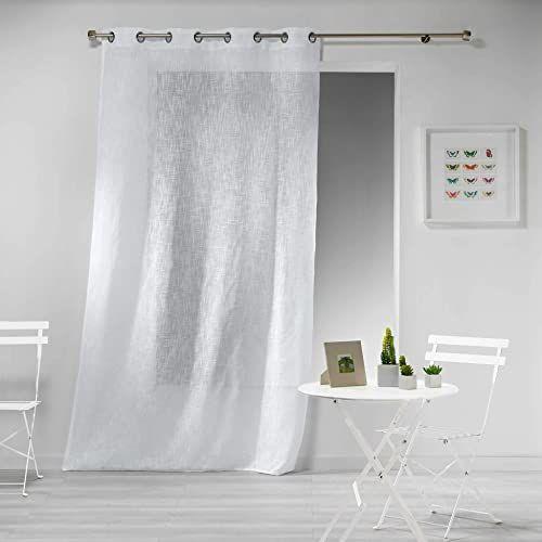 Zasłona z oczkami, 140 x 280 cm, wygląd lnu, biała