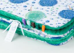 MAMO-TATO Kocyk Minky dla niemowląt i dzieci 75x100 Dmuchawce chaber / ciemna zieleń