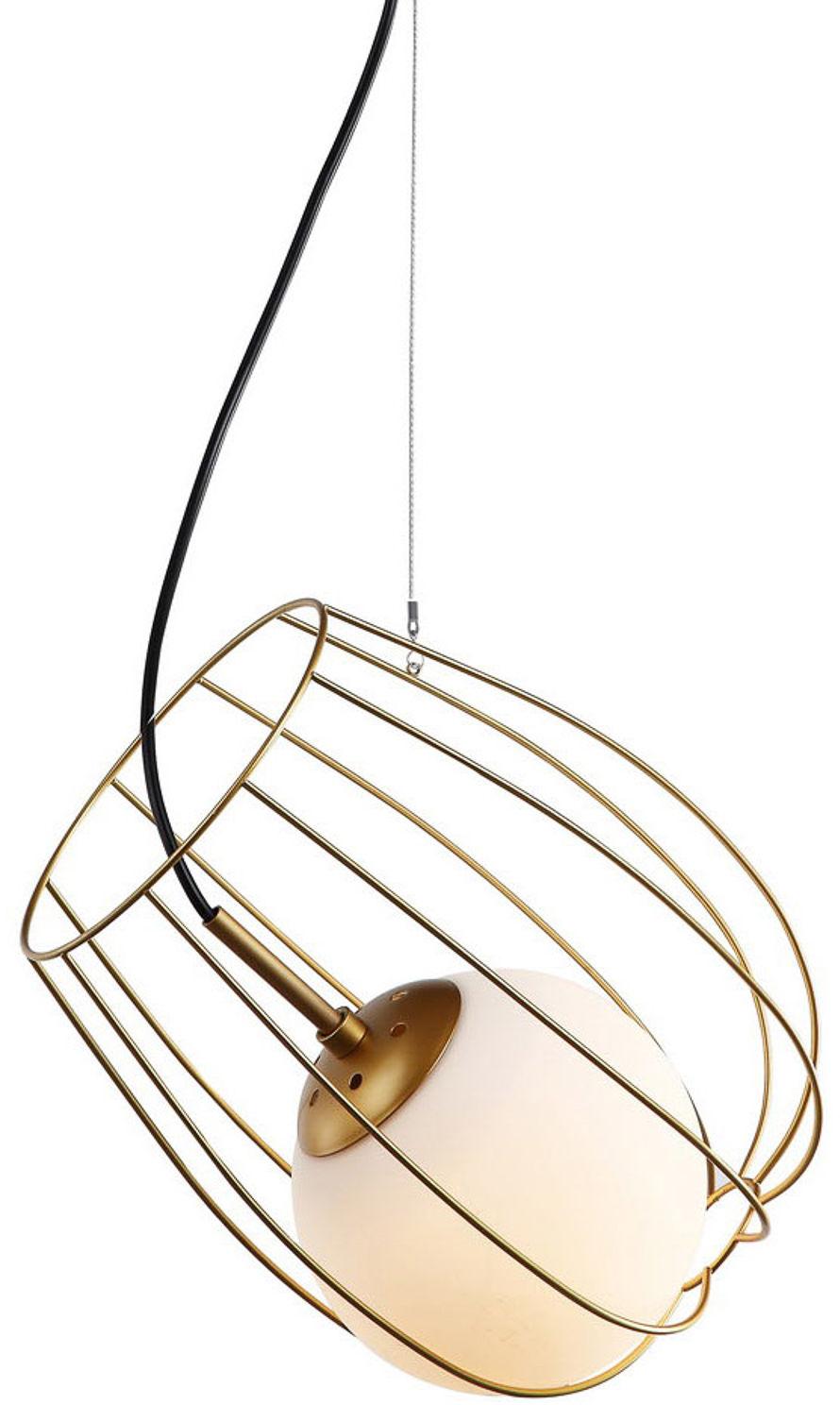 Italux lampa wisząca Melisa MDM-3943/1 GD złota druciana z szklanym kloszem 23cm