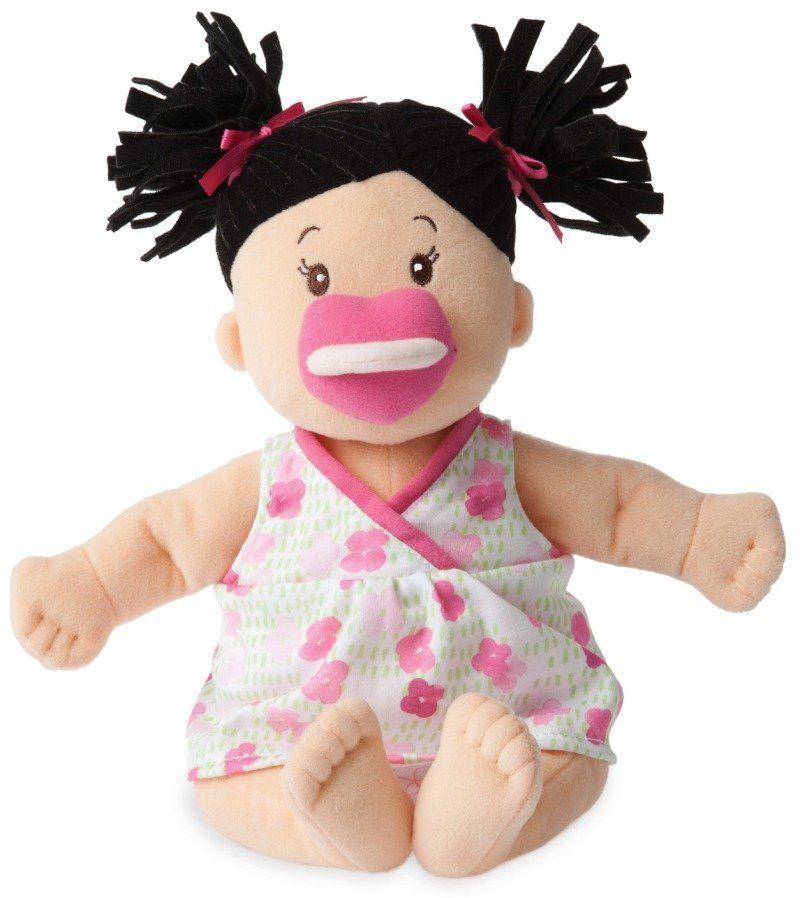 Pluszowa lalka dla dzieci, Brunetka w sukience w kwiatki, Baby Stella, 153000-Manhattan Toy, lalki dla dziewczynek
