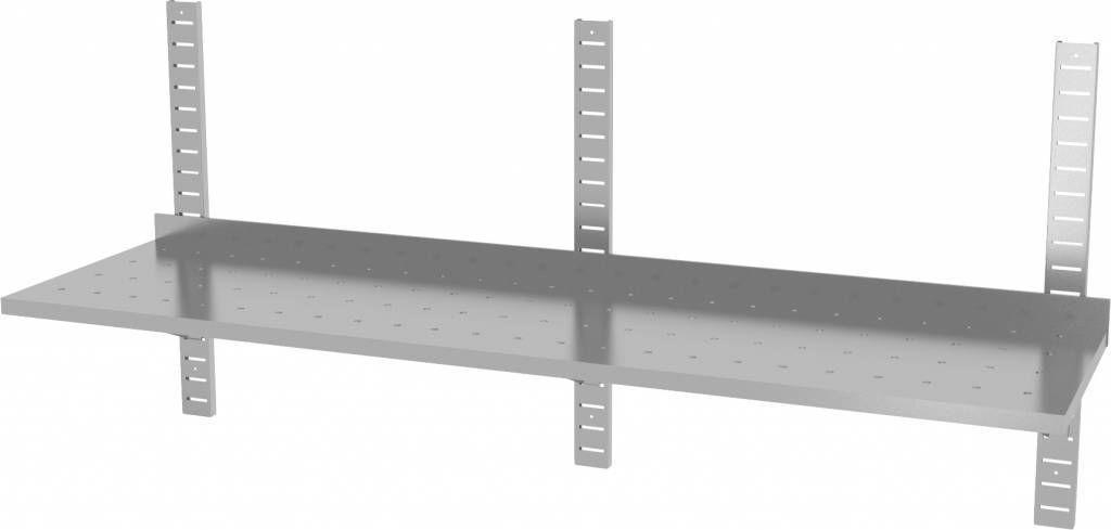 Półka wisząca przestawna pojedyncza perforowana z trzema konsolami szer: 1600 - 2000mm gł: 400mm