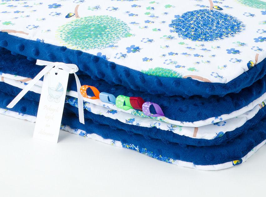 MAMO-TATO Kocyk Minky dla niemowląt i dzieci 75x100 Dmuchawce chaber / granatowy