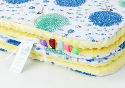 MAMO-TATO Kocyk Minky dla niemowląt i dzieci 75x100 Dmuchawce chaber / żółty