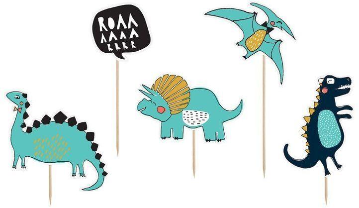 Topper na tort Dinozaury 15,5-20cm 5 sztuk KPT31