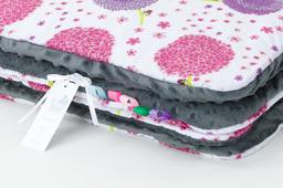 MAMO-TATO Kocyk Minky dla niemowląt i dzieci 75x100 Dmuchawce róż / szary