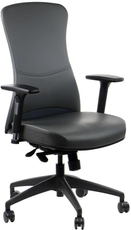 Fotel biurowy gabinetowy KENTON tapicerowany ekoskórą - krzesło biurowe obrotowe w kolorze szarym