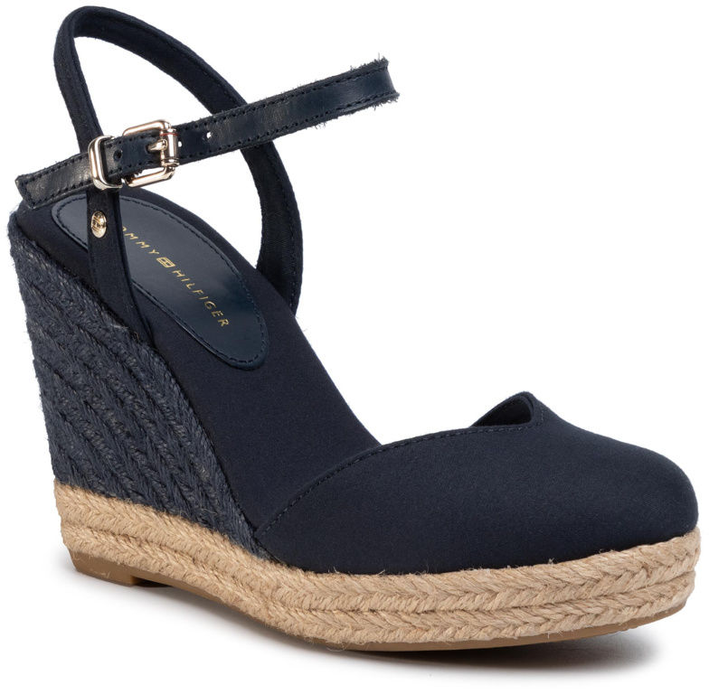 Tommy Hilfiger Espadryle Basic Closed Toe High Wedge FW0FW04786 Granatowy