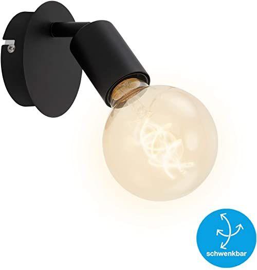 Briloner Leuchten Lampa punktowa ścienna 1-punktowa w stylu retro/vintage, lampa punktowa obrotowa i wychylna, E27, maks. 60 W, metal, czarny, 60 W