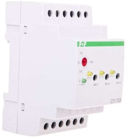 Przekaźnik kontroli napięcia 3-fazowy 3x(50-450V)+N 3R 8A 170-210V AC CP-733