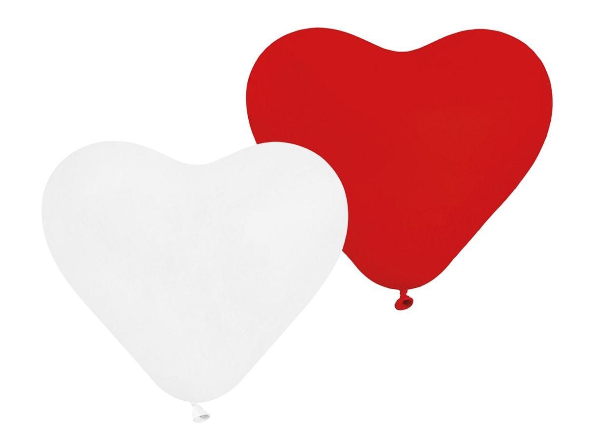 Balony serca czerwone i białe - 25 cm - 5 szt.