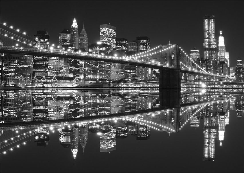 New york brooklyn bridge night bw - plakat wymiar do wyboru: 42x29,7 cm