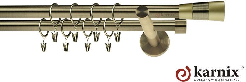 Karnisze nowoczesne NEO podwójny 19/19mm Doris antyk mosiądz