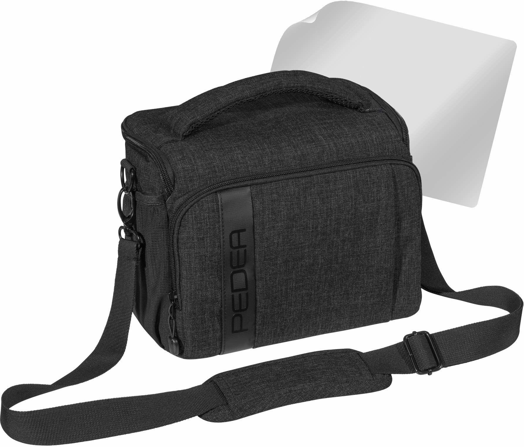 """PEDEA DSLR torba na aparat """"Fashion"""" z folią ochronną na wyświetlacz do Canon EOS 5D Mark II 400D 2000D / Nikon D60 D80 D90 D3100 D3200 D3300 D3400 D5300 D7100 / Pentax K 50 K 500, rozm. XL czarny"""