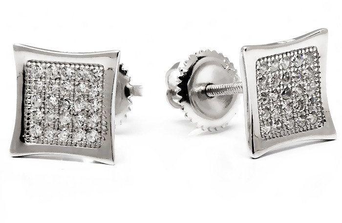 Kolczyki Srebrne Kwadraty z Mikro Cyrkoniami