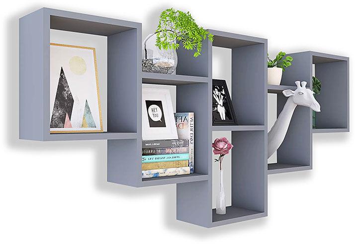 Szara nowoczesna wisząca półka na książki - Amela