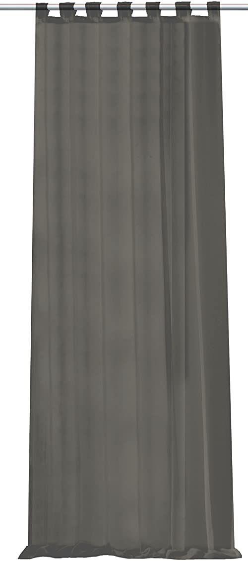 Home fashion zasłona ze szlufkami Uni woal, poliester, szary, 245 x 140 cm