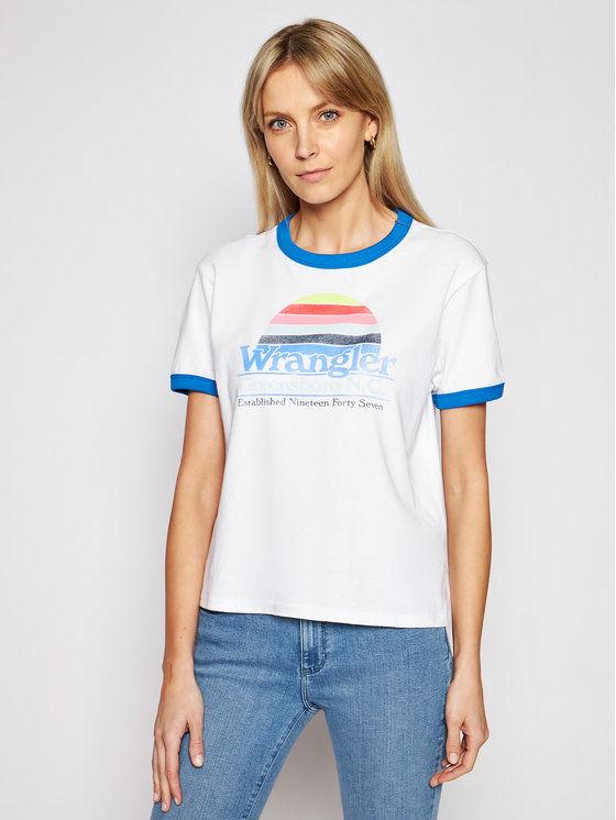 Wrangler T-Shirt Ringer W7S0DR989 Biały Relaxed Fit