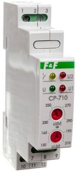 Przekaźnik kontroli napięcia 1-fazowy 3x(50-450V)+N 1P 8A 150-210V/230-260V AC CP-710