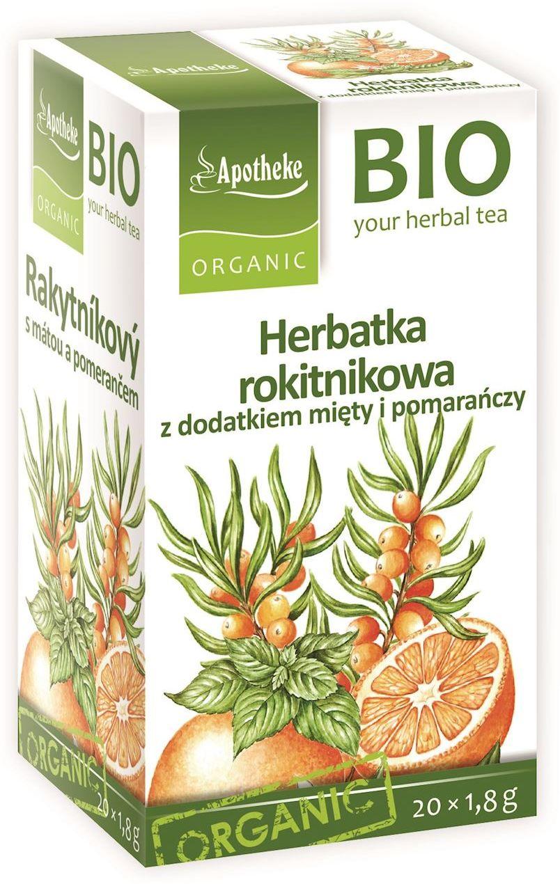 Herbatka rokitnikowa z dodatkiem mięty i pomarańczy bio 20 x 1,8 g - apotheke