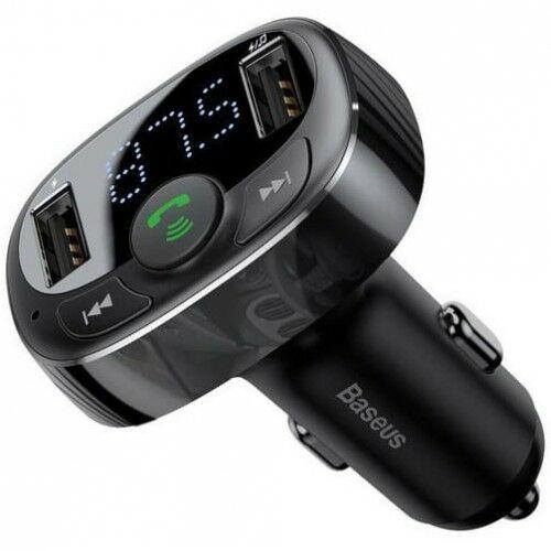 Ładowarka samochodowa + Transmiter FM Baseus T-Typed 2x USB-A, MicroSD 3,4A