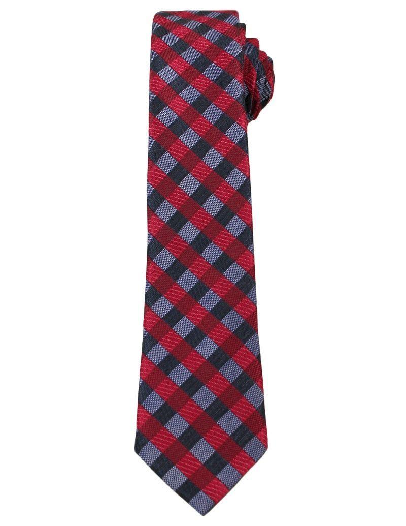 Czerwono-Granatowy Elegancki Krawat w Kratkę -ALTIES- 6 cm, Męski KRALTS0248