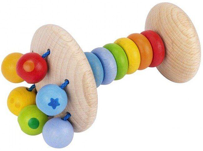 Drewniana grzechotka z kolorową rączką, Gwiazdka, 736790-Heimess, zabawki dla niemowlaków