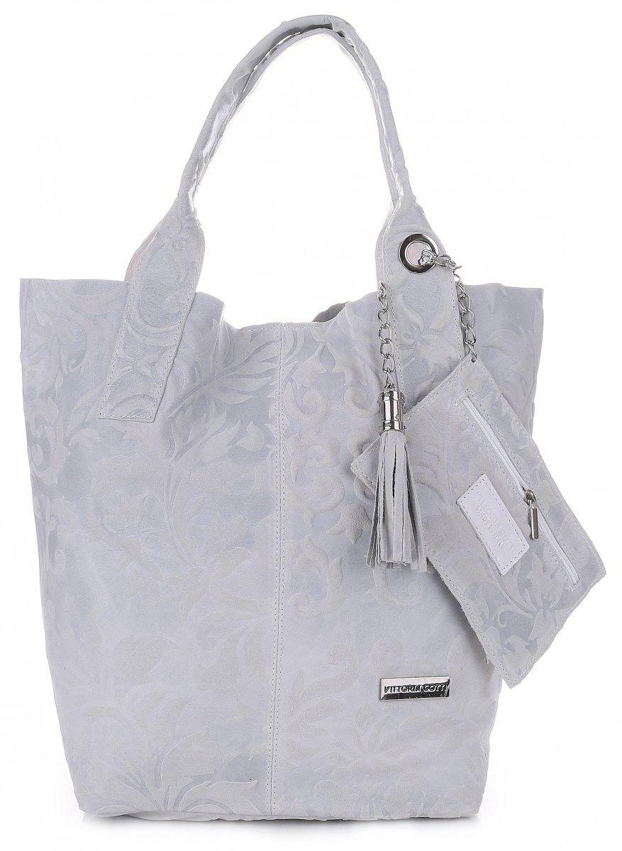 VITTORIA GOTTI Made in Italy Torebka Skórzana Shopperbag w Tłoczone Wzory Jasno Szara (kolory)