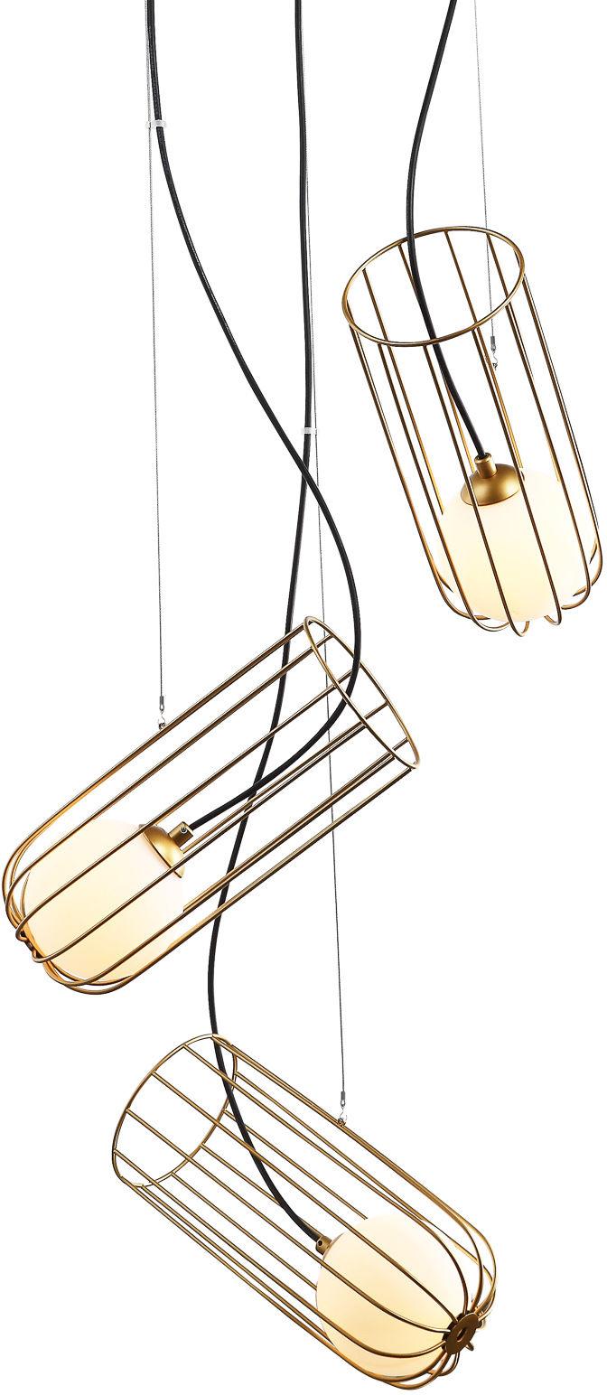 Italux lampa wisząca Coco MDM-3941/3 GD złota druciana potrójna 60cm