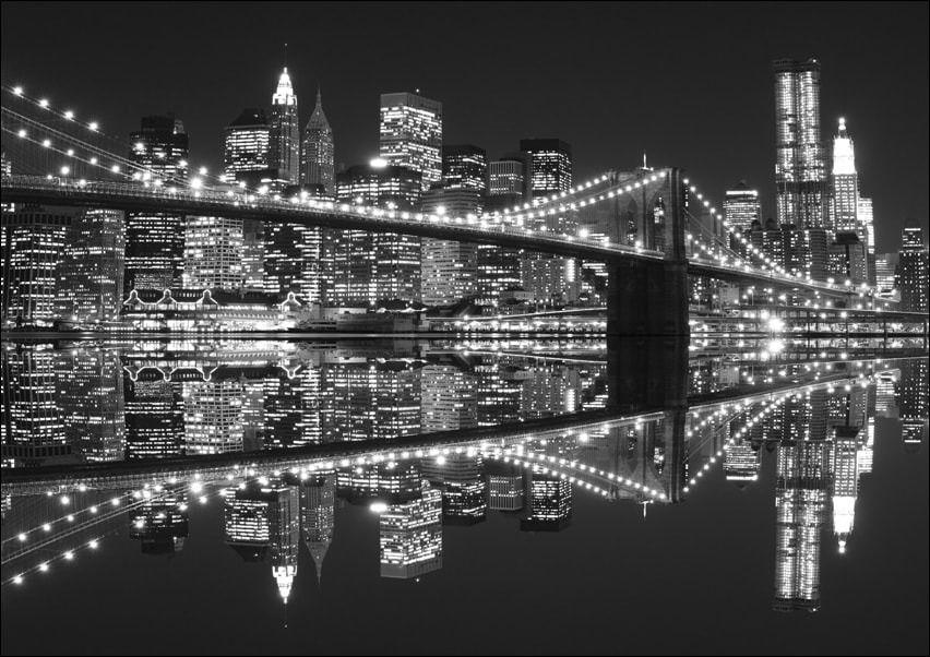 New york brooklyn bridge night bw - plakat wymiar do wyboru: 91,5x61 cm