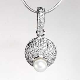 INKRUSTOWANY Srebrny wisiorek z perłą i cyrkoniami