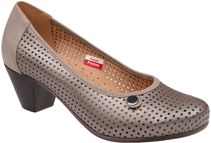 Czółenka AXEL Comfort 1593 Perła buty na haluksy na obcasie