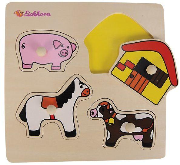 Eichhorn 100003615 - drewniane formy puzzle, 4 kształty 22,5 x 22,5 cm