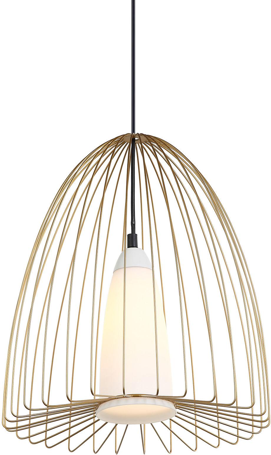 Italux lampa wisząca Lexi MDM-4017/1 GD złota druciana biały szklany klosz 33cm