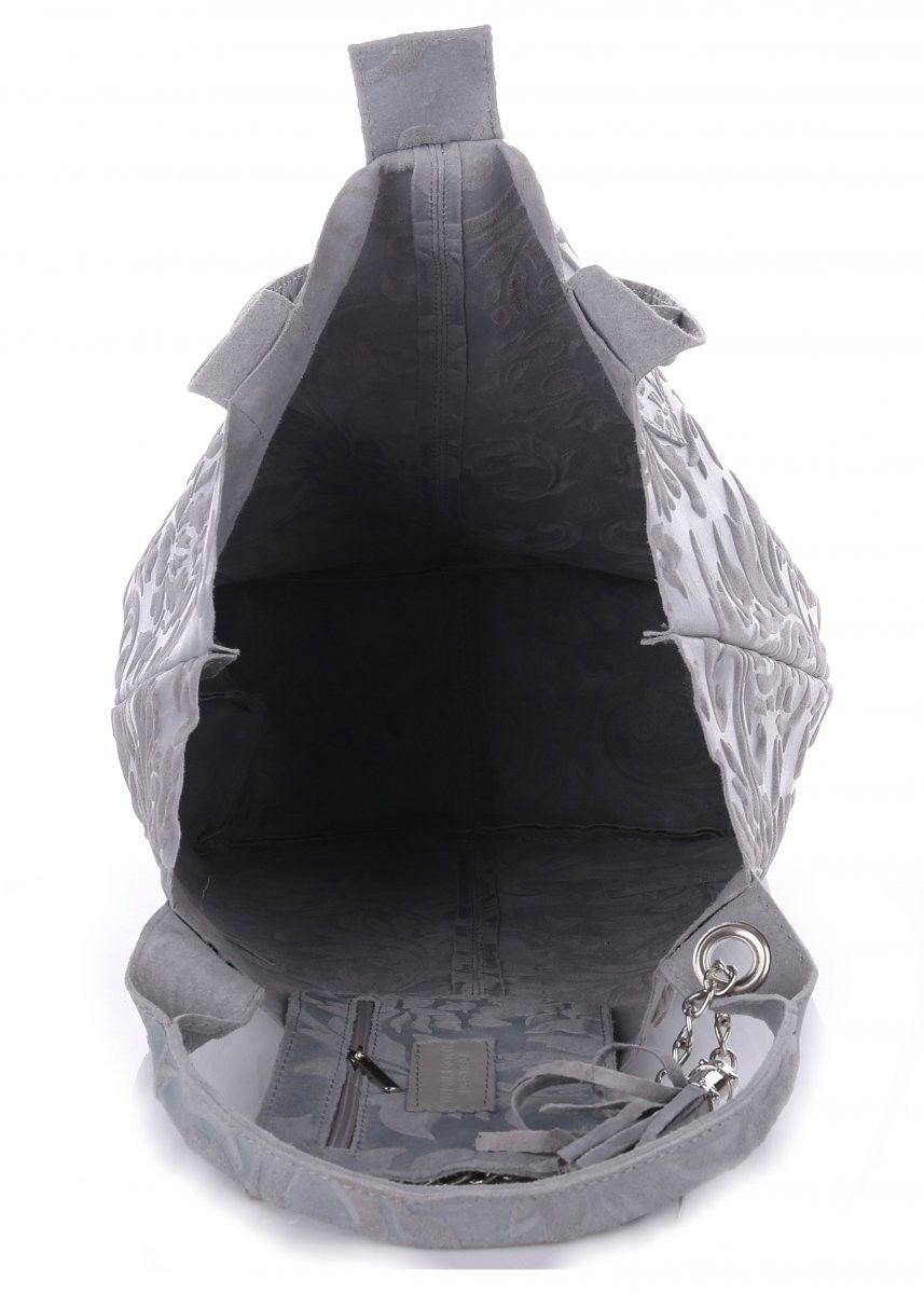 VITTORIA GOTTI Made in Italy Torebka Skórzana Shopperbag w Tłoczone Wzory Szara (kolory)