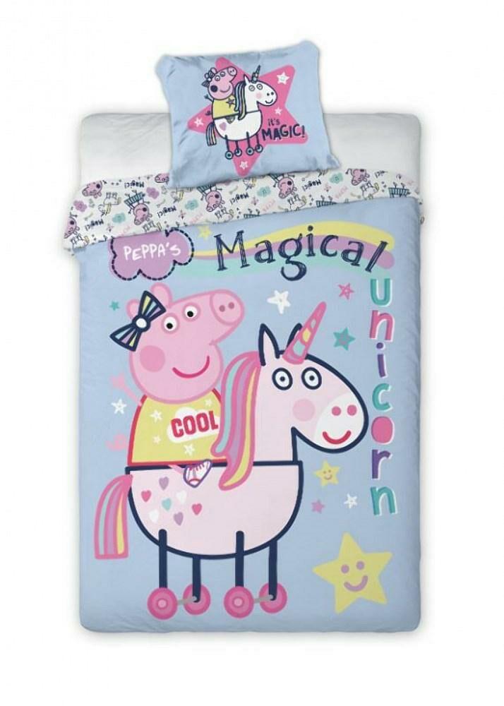 Pościel bawełniana 160x200 Świnka Peppa 1313 jednorożec unicorn niebieska