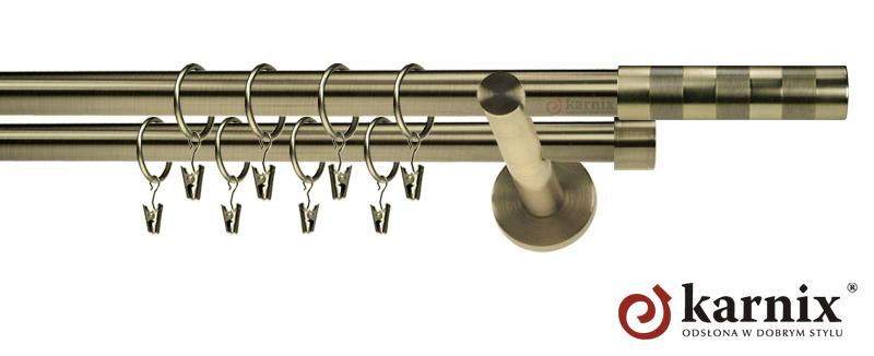 Karnisze nowoczesne NEO podwójny 19/19mm Etiuda antyk mosiądz