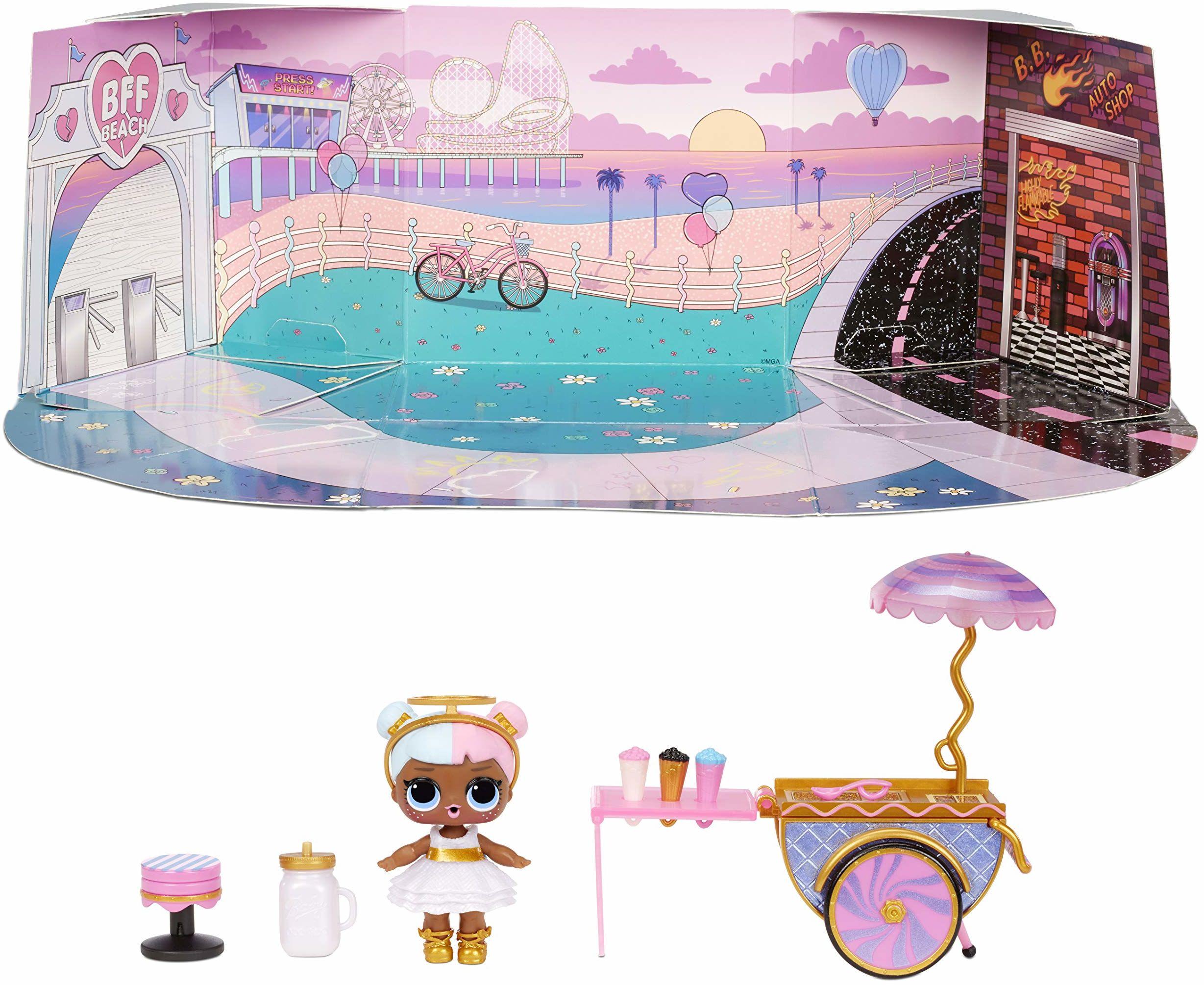 L.O.L. Surprise! 572626EUC LOL Sweet Boardwalk z cukrem ponad 10 niespodzianek, zestaw mebli dla lalek wózek na cukierki, akcesoria
