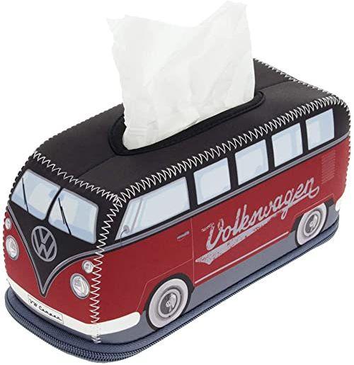 BRISA VW Collection  Volkswagen T1 Bulli Bus Retro/Vintage Neopren dozownik chusteczek kosmetycznych, pudełko na chusteczki higieniczne, pudełko na chusteczki (kolor czerwony/czarny)