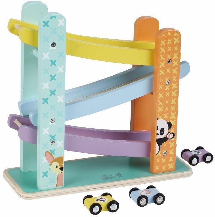 Zabawka drewniana rampa z autkami