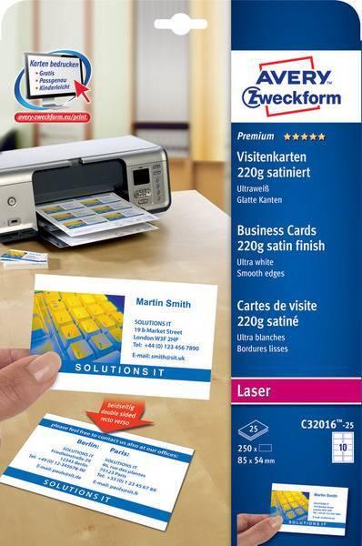 Wizytówki Quick&Clean; 85 x 54 mm, 250 szt., 220 g, satynowane, śnieżnobiałe - X03432