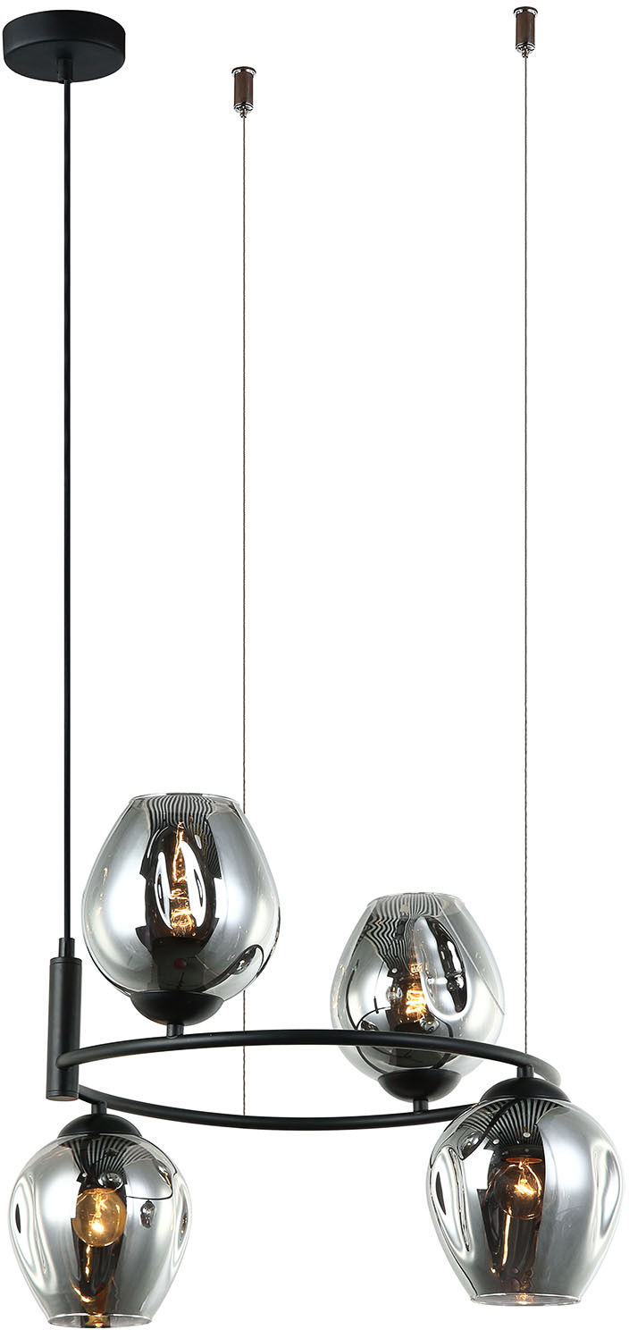 Italux lampa wisząca Roxane MDM-4045-4 BK+SG czarny szklane grafitowe klosze 45cm
