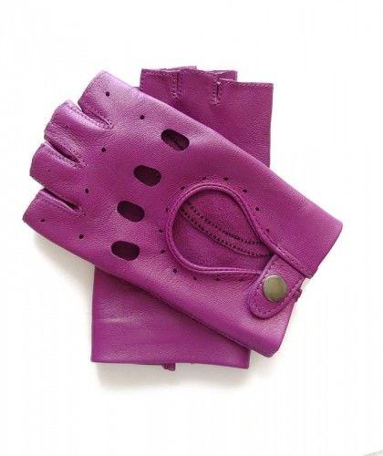 Modne, fioletowe rękawiczki całuski bez palców