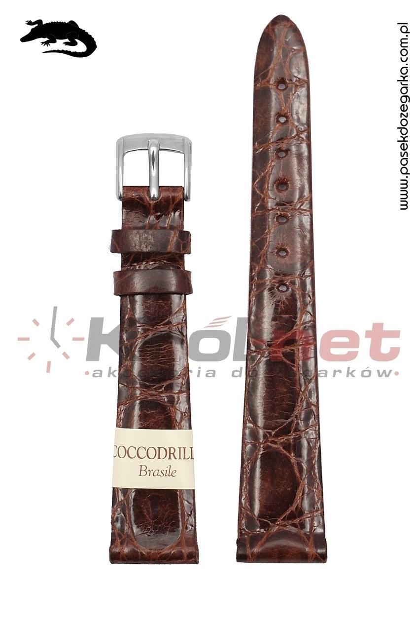 Pasek Morellato Amadeus - brązowy, skóra krokodyla 14 mm